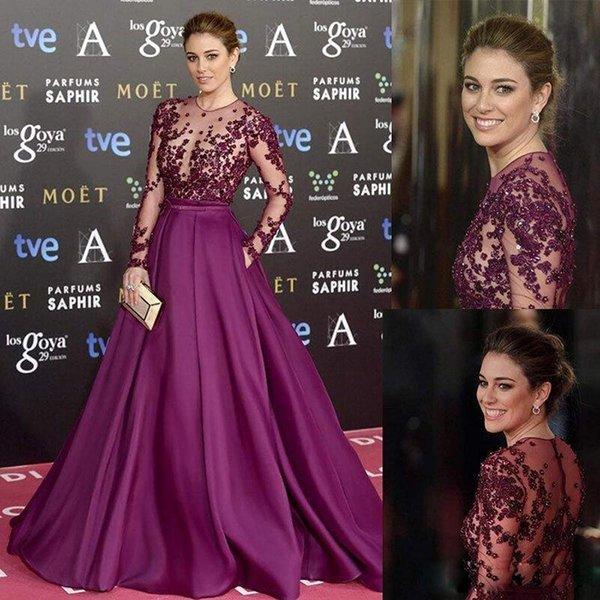 Celebrity Zuhair Murad Vestidos de noche para mujer Ilusión Top Con cuentas Manga larga Vestidos de fiesta formales Vestido de alfombra roja de satén púrpura con bolsillo