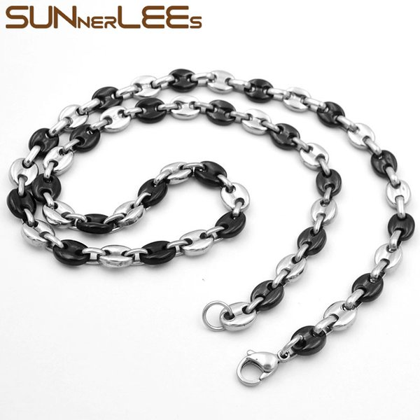 Fashion Jewelry Silver Black Color 5mm 7mm 9mm 11mm Stainless Steel Necklace Mens Womens Coffee Beans Link Chain SC13 N