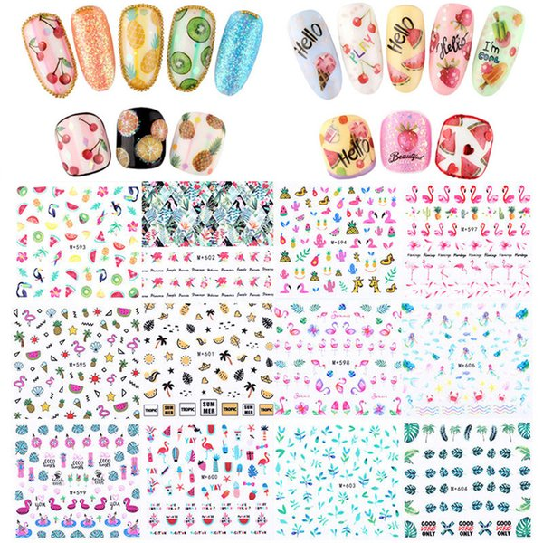 1PC DIY Mermaid Pineapple Design Fruit Nail Art Stickers Tropical Flamingo Theme Water Transfer Nail Decals Decoration Tools