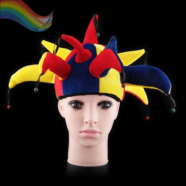 1 pezzo New Colorful Halloween Party Clown Hat con piccola campana Carnival Funny Ball divertente AB0003S