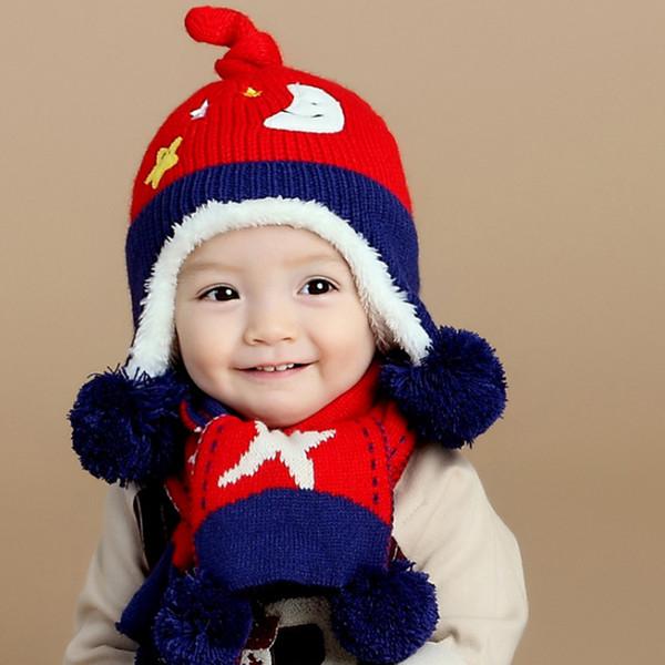 Bebek Kapaklar Eşarp Set Örgü Kap Sevimli Karikatür Baskılı Bebek Kapaklar Kış Şapka Kaput Kış Şapka Çocuk Boys Kızlar Için
