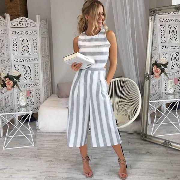 HOT Jumpsuit Summer Women Sleeveless Striped Jumpsuit Casual Clubwear Wide Leg Elegant Pants Outfit combinai