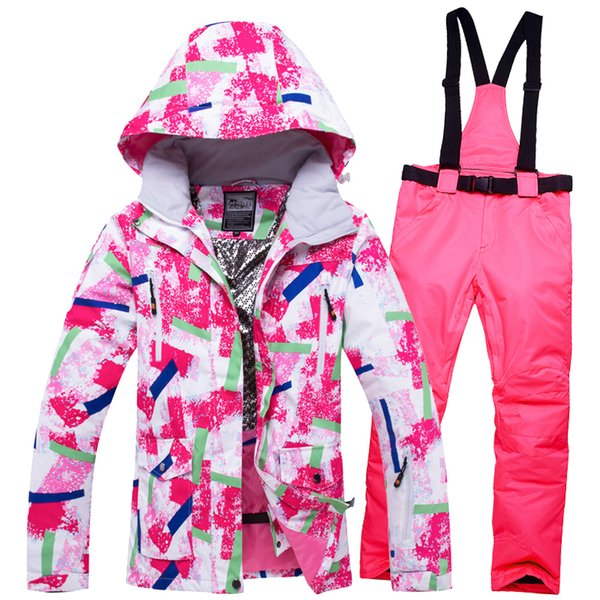 2018 WELIVENICE Winter Pink Snow Skiing Jacket Ski Suit Snow Clothes Windproof Waterproof Clothes And Pants Snowboard ets