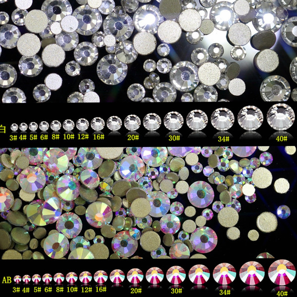Nail Art Rhinestone SS3-SS30 Flatback Glass Rhinestones para Nails Stones Gold Foiled DIY 3D Nail Decoraciones