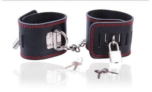 BDSM Bondage Collar Handcuffs for sex Wrist Cuffs Ankle Leg Cuffs Restraints with Lock Adult Sex Toys HM-KIT3001