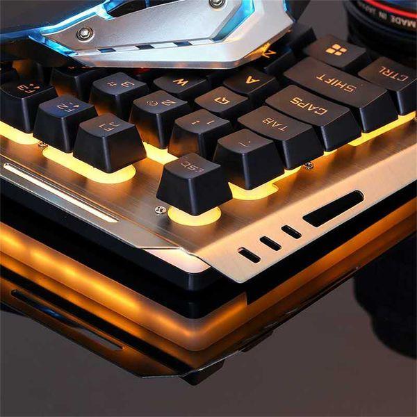 Gaming Keyboard mechanische Tastatur und Maus V1 104 Key USB-RGB-LED-Hintergrundbeleuchtung mit mechanischem Computer beleuchtet
