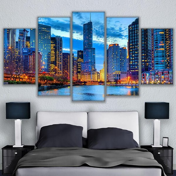Pictures Canvas Wall Art Frame Kitchen Restaurant Decor 5 Pieces Chicago City Night View Living Room HD Printed Painting Posters