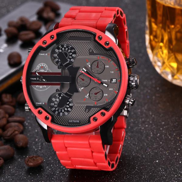 Art- und Weisemarken-7370 großer Fall der Männer rotes Stahlmetall + Silikonband-Quarzarmbanduhr volles Firmenzeichen