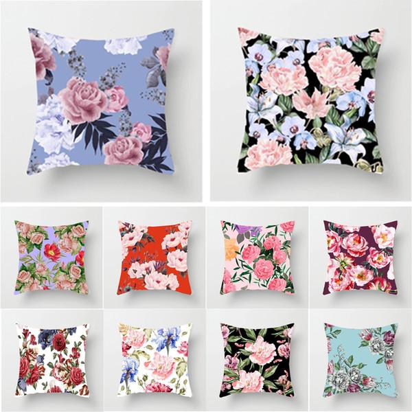Color del agua Flores brillantes Peonía Rosas Patrón Moda Decoración del hogar de algodón Lino Cojín Fundas de almohada cuadradas Sofá Dormitorio Sofá sofá P