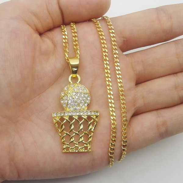 Fashion Hip Hop Iced Out K Gold Plated Mini Basketball Rim Pendant Necklace Long Chain Necklaces Mens Jewelry Gold