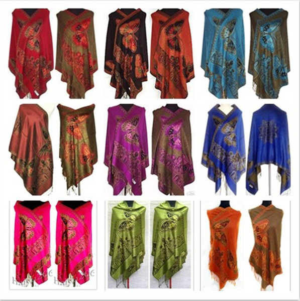 Hot! 9 colors New Chinese Lady's Butterfly Double-Side Silk Pashmina Scarf Wrap Shawl free shipping S18101904