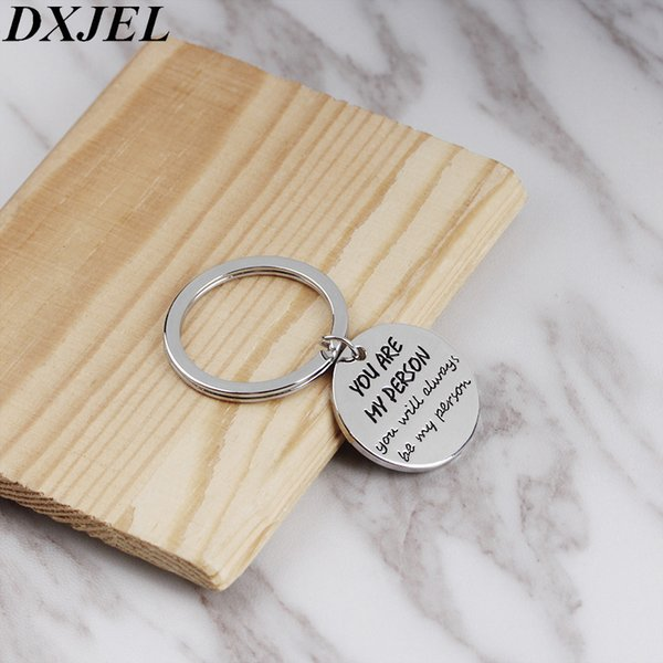 DXJEL Couple Keychain You're My Person Couple Keychain For Lovers You Are My Person Key Chain Ring Holder Best Friends llaveros