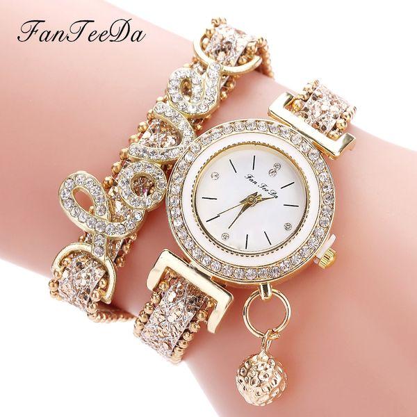 FanTeeDa Brand Fashion Luxury Women Wristwatch Watches Love Word Leather Strap Ladies Bracelet Watch Casual Quartz Watch Clock