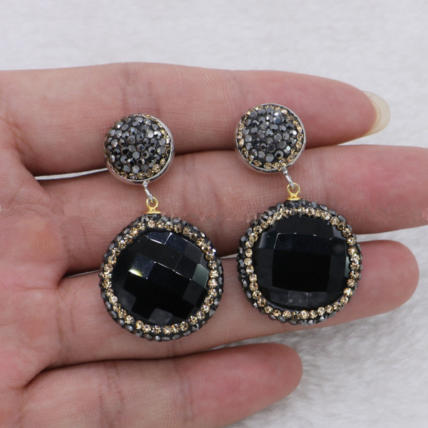 5 Pairs Natural Black Agate Stone Druzy Dangle Earrings Faceted Beads Drop Earrings Gems Jewelry for Women
