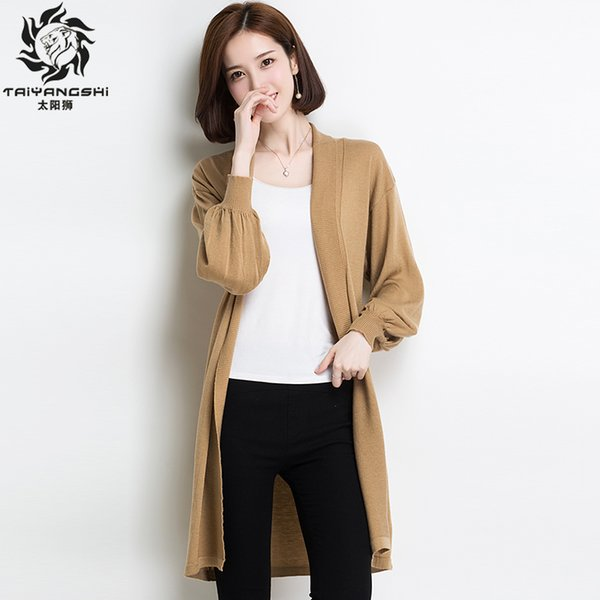 Women's Korean Style Sweater Monster Pure Color Long Casual Wool Blends Cardigan Knitted Black Cardigans Loose Poncho Sweaters