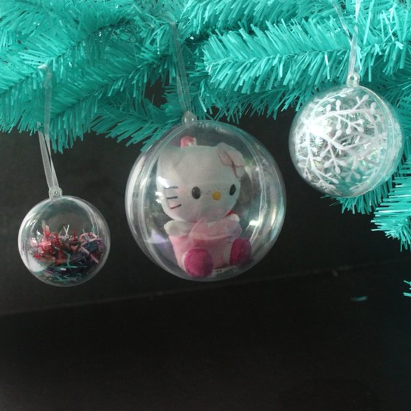 75pcs 4/5cm Transparent Open Plastic Christmas Tress Decorations Ball Clear Bauble Ornament Gift Present Box Decoration