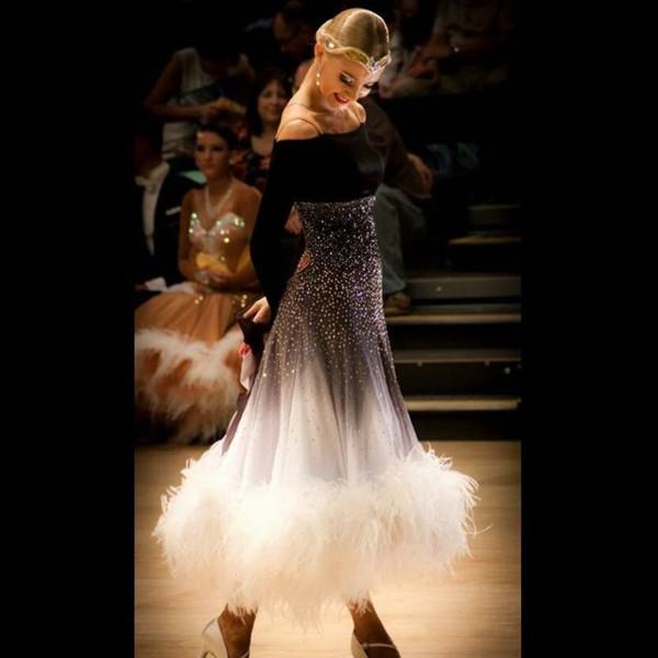 ballroom dance dress ballroom dance concorrenza abiti grigio sfumato Modern Waltz Tango Dress piuma di struzzo