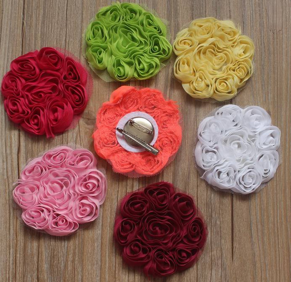 40pcs 8cm chiffon fabric rosette clip flower for girls hair accessories,chiffon clip flowers for baby hair accessory