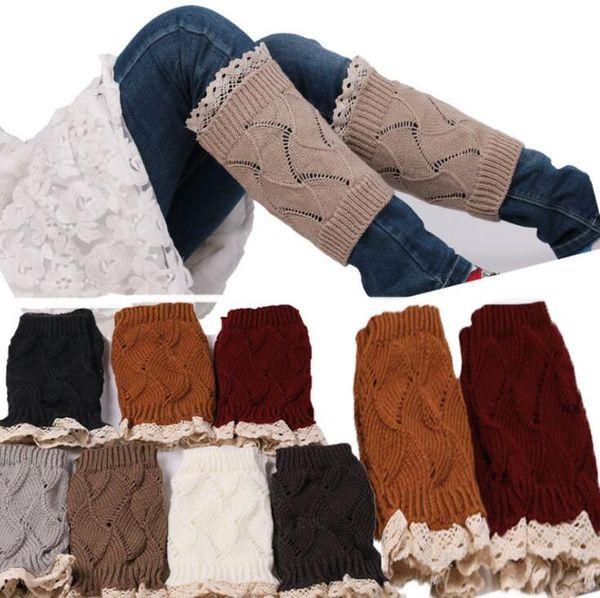 Lace Boot Cuffs Women Knit Fashion Leg Warmers Crochet Trim Toppers Short Boot Socks Foot Cover Socks Legging Warmers KKA3904