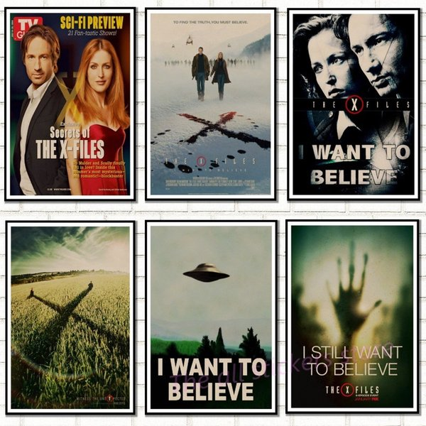 Vintage Classic Movie The X-Files I Want To Believe Poster Bar Home Decor Retro Kraft Paper Painting Wall Sticker.5077