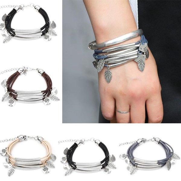 Neue Mode Paare Vogel Wachs Seil Armband Mehrschichtiges Armband Bangle 4 Farben Vintage Schmuck Für Geschenk