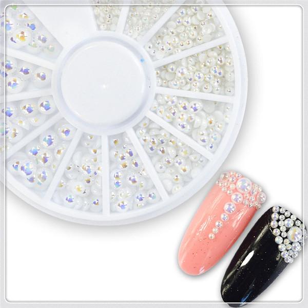 Venta caliente 3d Nail Art Wheels DIY Decoraciones Blanco Perla Nail Art Piedra Diferente Tamaño Rueda Rhinestones Perlas