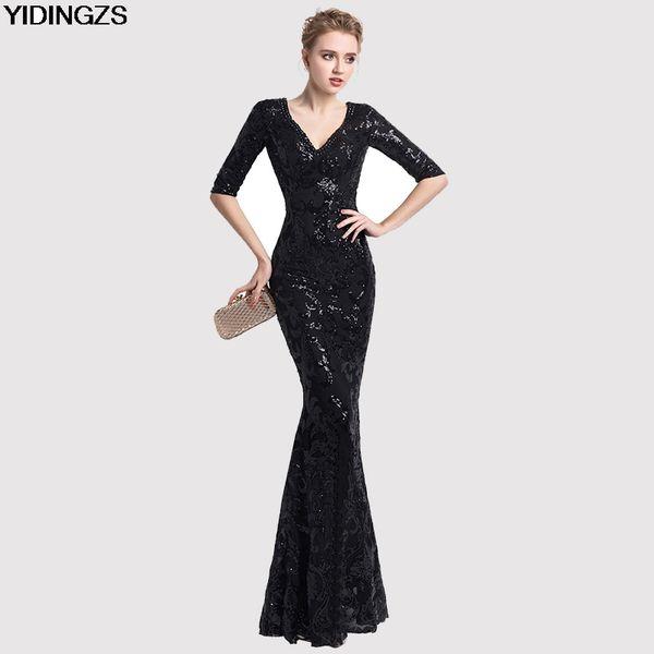 YIDINGZS Women Half Sleeve Beaded Sequins Prom Dress Mermaid V Neck Party Evening Dress C18111601