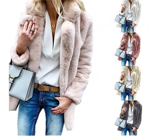 Winter Sherpa Coat for Women S-3XL Fleece Faux Fur Long Coats Lapel Neck Plus Size Street Outwear Jacket Cardigan Thick Fuzzy Coats Clothes