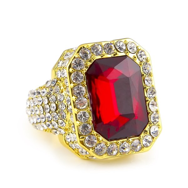 Mens Hip-hop Full Diamond Anillos Micro Pave Crystal Big Red Negro Verde Azul Piedra Square Gold Silver Color Ring