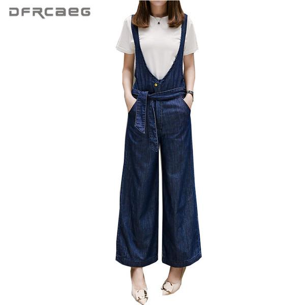 4XL 5XL Plus Size Women Denim Overalls For Women 2018 Summer Fashion Loose Wide Leg jumpsuit Jeans With Lace Up Blue