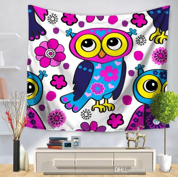 9 Style Cartoon Owl Tapestry For Children Bedroom Decor Multifunction Beach  Towel Printing Tablecloth Home Decoration Party Supplies Tapestry Artwork  ...