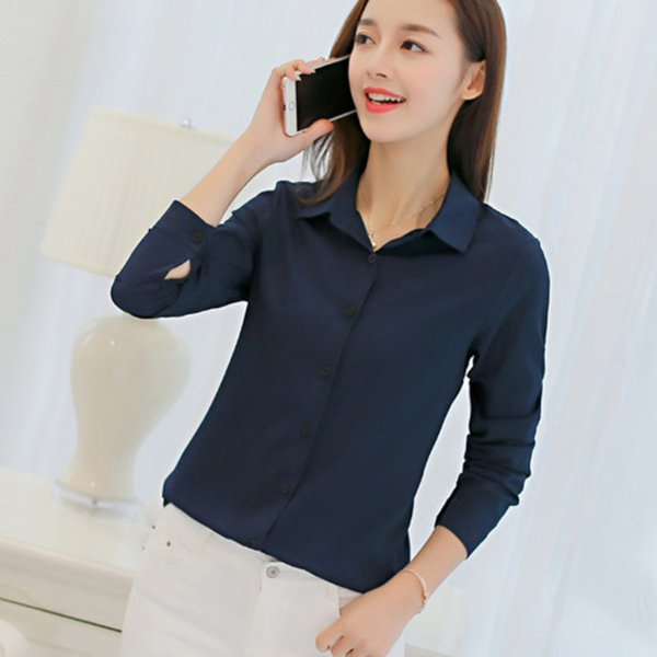 White Blouse Women Chiffon Office Wear Shirts Tops 2018 Fashion Casual Long Sleeve Blouses Femme Solid Color Blusa