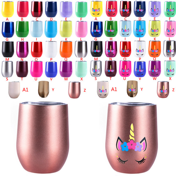 top popular Unicorn 12oz tumbler Stemless wine glass Stainlee steel Wine Tumbler With Lid Rose Gold Coffee Mug for Wedding Christmas Party Gift 2021