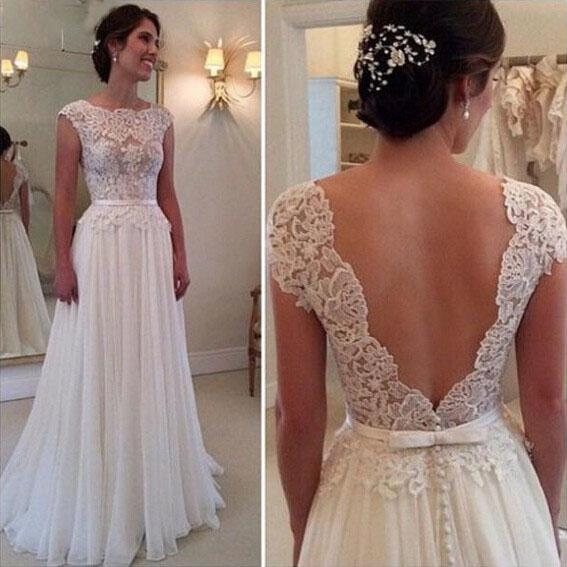 2019 Wedding Dresses A Line Boat Neck Sleeveless Belt Backless Chiffon Floor Length Vestido de novia Bridal Gown Wedding Dress For Bride