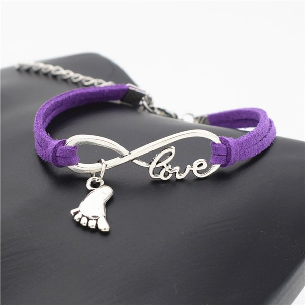 Hot Antique Silver Infinity love foot Pendant Charm Bracelet & Bangles With Purple Leather Rope Cuff Bracelets For Women Men Wedding Jewelry