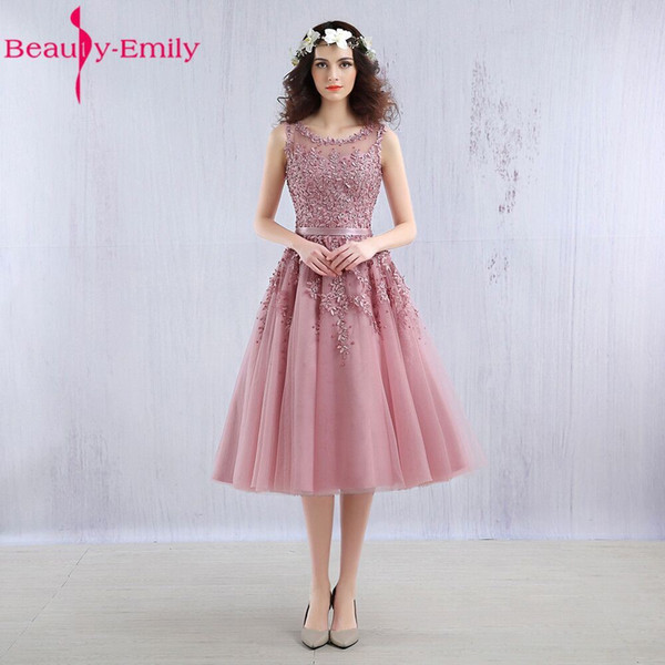 Beauty Emily prom dress 2018 Pink Beaded Lace Appliques elegent Evening Dresses Short sleeve new for girls Party evening dress C18111601