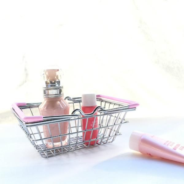 100pcs/lot Mini Supermarket Shopping Cart Kids Toy Desktop Cosmetic Sundries Organizer Iron Storage Basket 3 Sizes ZA4097