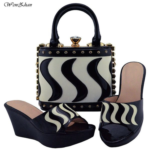 African Shoes And Bag Set Black Mix White For Party In Women Fashion Italian Matching Shoe And Bag Set With New Style B810-23