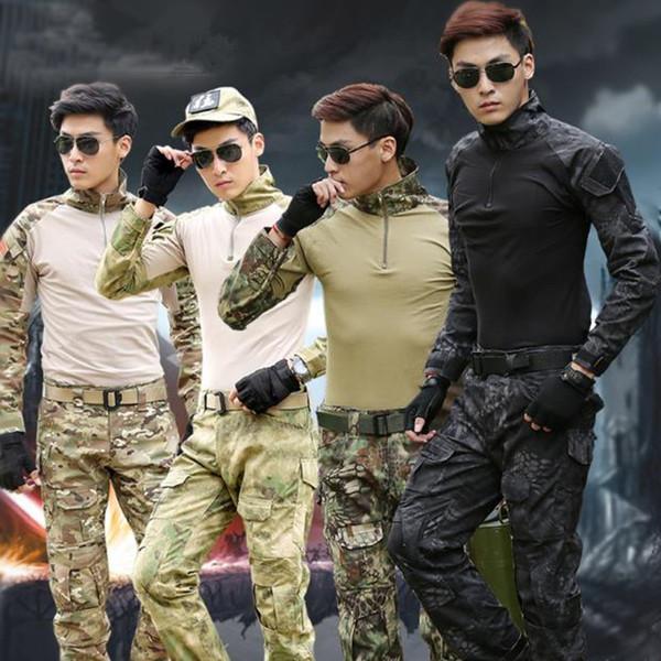 Mens Clothes Combat Shirt Pants Black Long Sleeve Tactical Suit Army Uniform Painball Tactical Clothes