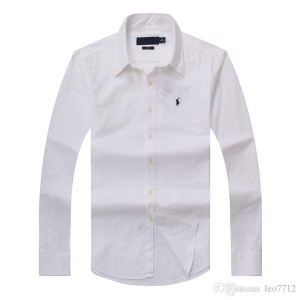 top popular 2018 new autumn and winter men's long-sleeved cotton shirt pure men's casual POLOshirt fashion Oxford shirt social brand small hor 2019