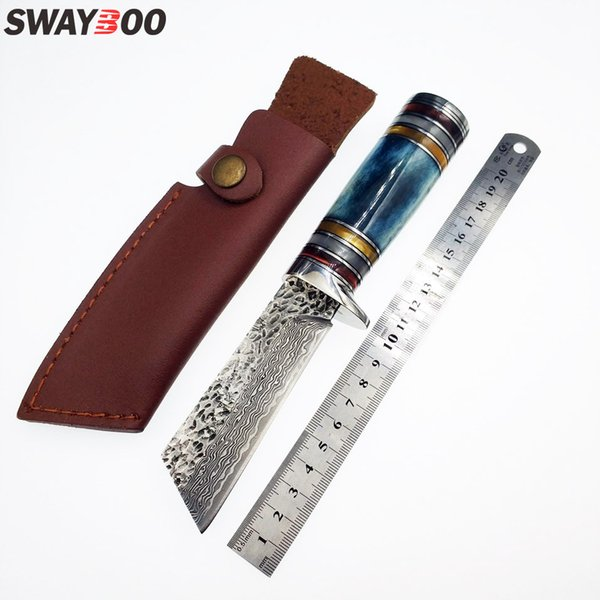 Swayboo high quality survival knife camping camel bone resin brass handle pure manual forging Damascus steel knife fixed blade