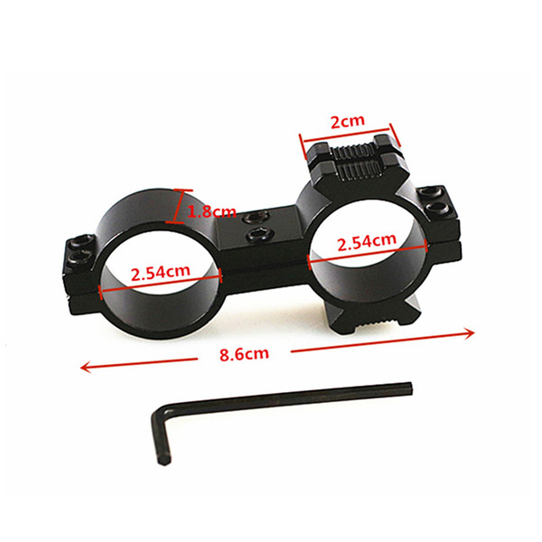 25.4mm 30mm Dual Scope Ring Double Rings Flashlight Scope Tube Sight Mount 20mm Side Rail for Rifle Tactical Hunting Accessories