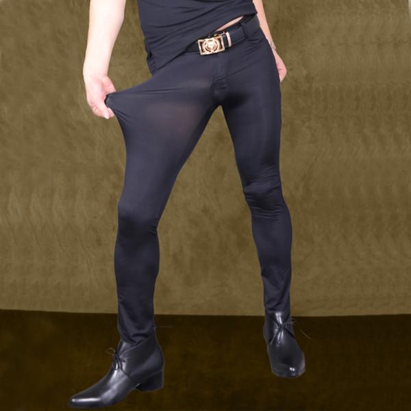 Hommes Sexy Pantalon Transparent Ice Silk Voir À Travers Élastique Pantalon Serré Soyeux Crayon Pantalon Érotique Lingerie Club Gay Wear F90