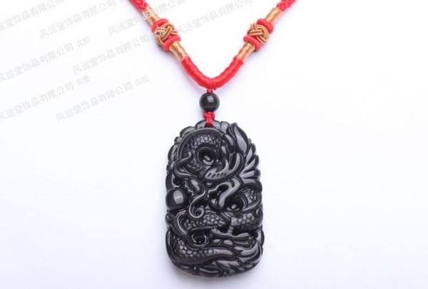 Pendentif dragon sculpté avec pendentif en cristal d'OBSIDIENNE 100% NATUREL