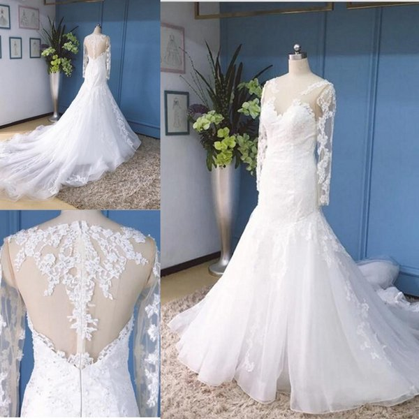 best selling Sexy White Lace Mermaid Wedding Dresses Long Sleeve Illusion Bodice Sheer Neck Straps Chapel Train Custom Made Bridal Wedding Gowns