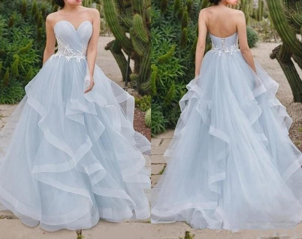 2018 Simple Style Skye Blue A Line Wedding Dresses Sweetheart Neck With White Lace Ruffles Train Corset Back Boho Beach Bridal Party Gowns