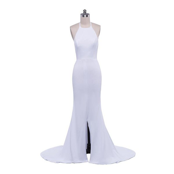 Sexy Long Evening Dresses with Halter Neck 2019 Sweep Train Backless Evening Gown New Split Prom Dress