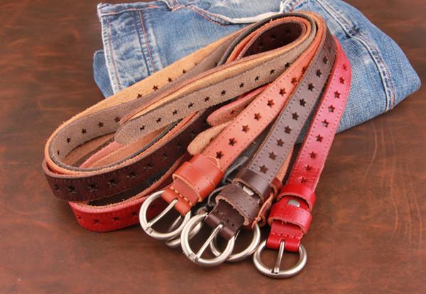 Hot Designer Women Belts Retro Pin Buckle Cowhide Belt Strap High Quality Fashion Jeans Girdle Stars Popular Real Leather Belt Jeans Belts