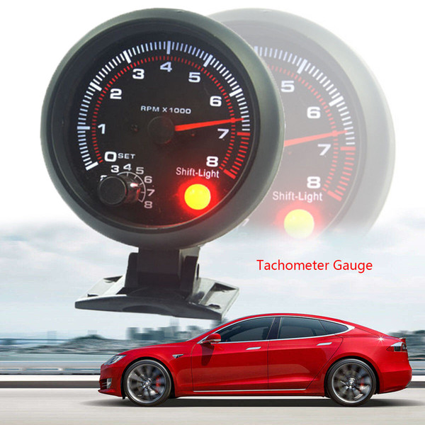 best selling 3.75'' 80mm 0~8000 Tachometer Gauge 12V ' Car Auto Tacho Rev Counter Gauge Tachometer W  Red LED RPM Light