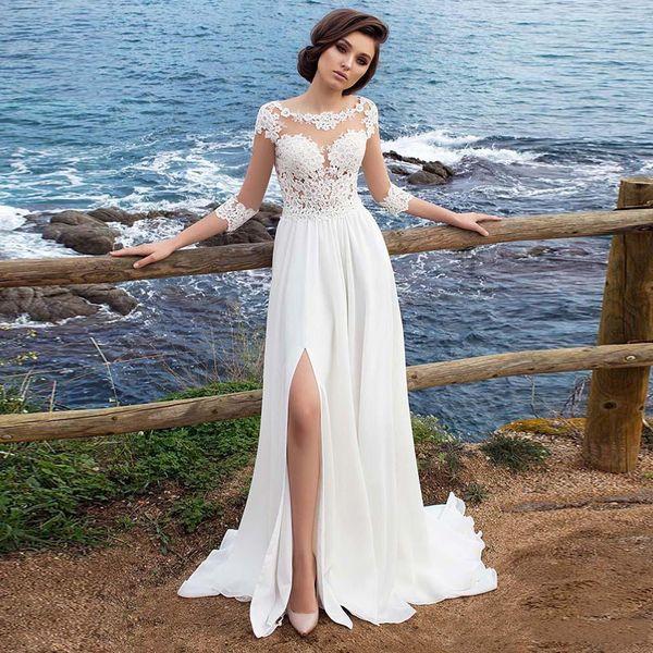 Vestido De Noiva Praia Chiffon Apliques Vestido Simples Uma Linha de Fenda Lateral Vestido De Novia Praia Vestido De Noiva Vestido De Casamento De Três Quartos De Manga